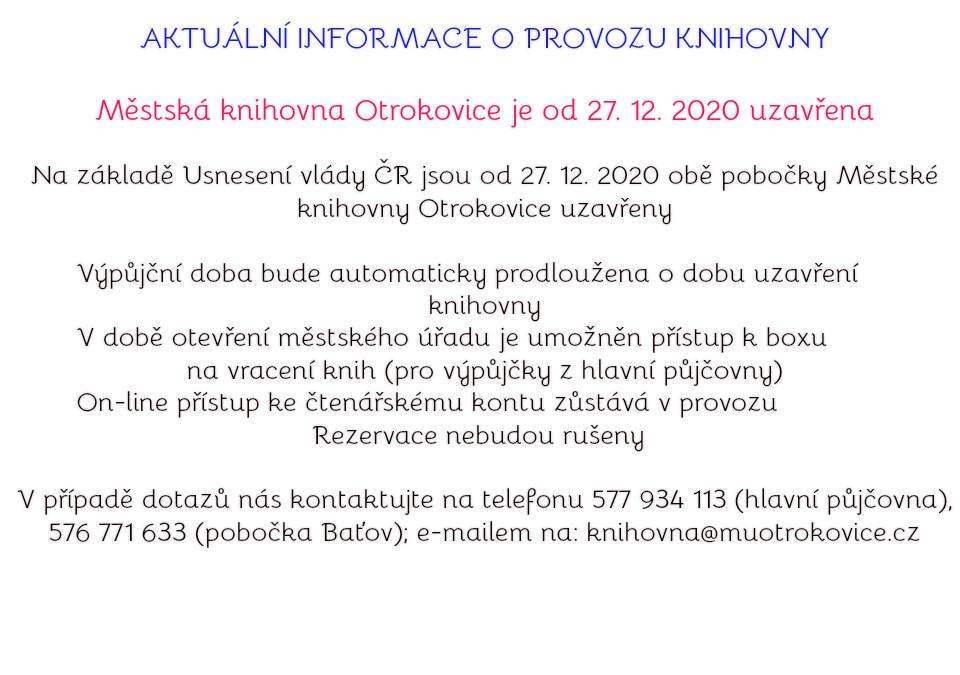 Městská knihovna je od 27.12.2020 uzavřena
